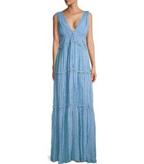 jonathan simkhai women's sedona floral silk maxi dress - capri - size m