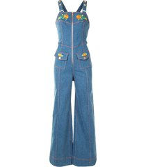 alice mccall winona embroidered denim jumpsuit - blue