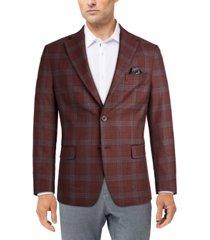 tallia men's slim-fit burgundy plaid sport coat