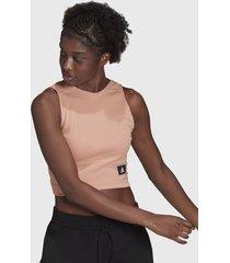 crop top adidas performance wip rib tank rosa - calce ajustado