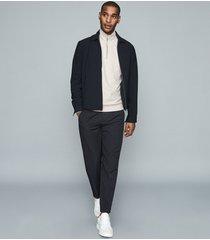 reiss evans - melange zip neck sweater in oatmeal, mens, size xxl