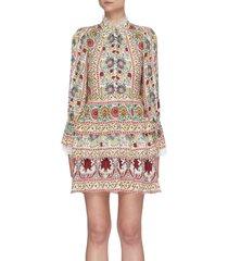 'lawson' floral print lace trim tiered mini dress