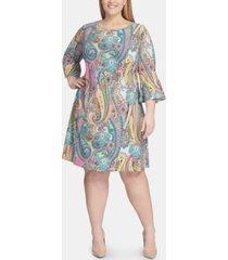 tommy hilfiger plus size jaipur-paisley bell-sleeve dress