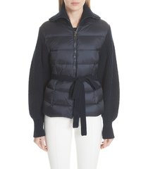 women's moncler maglione quilt front belted wool & cashmere cardigan, size x-small - blue