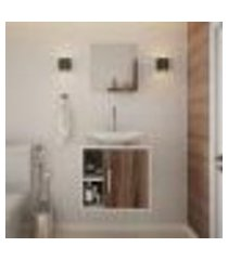 conjunto para banheiro gabinete com cuba folha l38 e espelheira soft 500 branco com nogal