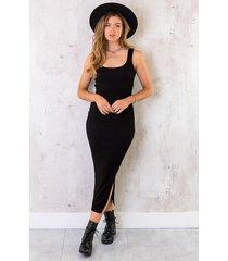 maxi stretch jurk zwart