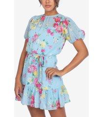 b darlin juniors' floral-print ruffled-hem puff-sleeve chiffon dress