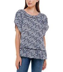 adrienne vittadini women's short tulip sleeve raglan blouse