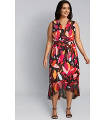 lane bryant women's abstract floral crossover midi dress 16 black grounded floral