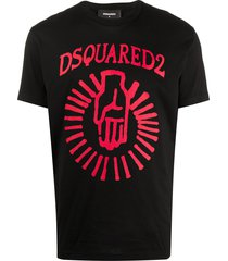 dsquared2 hand logo print t-shirt - black
