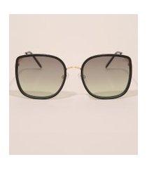óculos de sol feminino quadrado yessica dourado