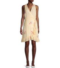 ruffled floral wrap dress