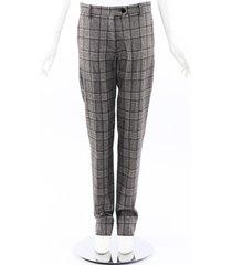 kiton black gray plaid wool straight leg pants black/gray sz: m