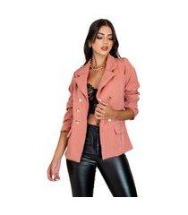 blazer feminino alfataria acinturado manga longa elegante moderno chique top venda salmão