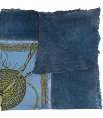 avant toi contrast panel shawl - blue