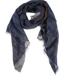 brunello cucinelli stripe detail frayed scarf