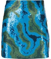 alberta ferretti sequinned camouflage-pattern skirt - blue