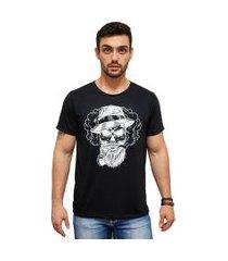 t-shirt 100% algodáo estampa caveira stefanello cm01 preta