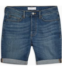 mens blue mid wash skinny shorts