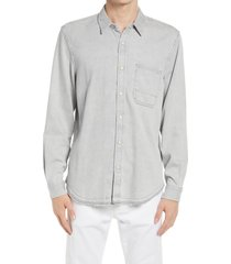 men's 7 for all mankind snap front denim shirt, size x-large - grey