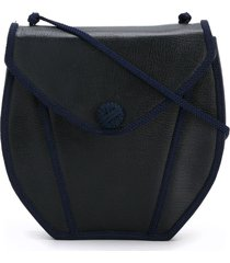 yves saint laurent pre-owned braided detail saddle bag - blue