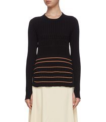 adeline stripe rib knit sweater
