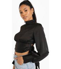 korte blouse met hoge hals, black