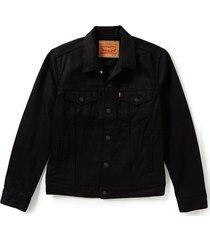 levi's men's cotton button up trucker jacket relaxed fit denim polished black