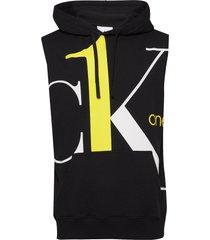 big logo regular sleeveless hd hoodie svart calvin klein jeans