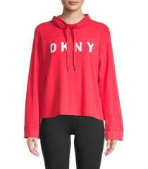 dkny women's funnel neck bell sleeve pullover - lust - size m