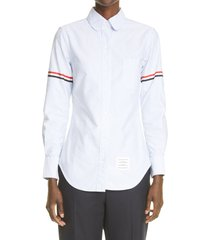 thom browne grosgrain band cotton poplin shirt, size 2 us in light blue at nordstrom