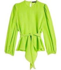blusa m/l amarracao na cintura eva - feminino