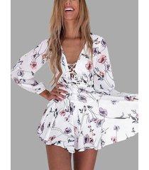 vestido blanco cruzado de manga larga con cuello en v y estampado floral radom