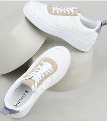 tênis feminino oneself flatform com micro furos branco