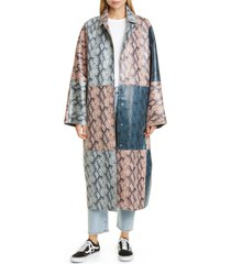 women's stand studio stacy snake print patchwork faux leather coat, size 2 us - grey
