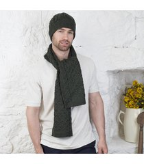 honeycomb aran hat & scarf set green