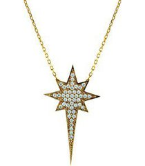 fronay co .925 sterling silver clear cz protostar starburst pendant necklace dip