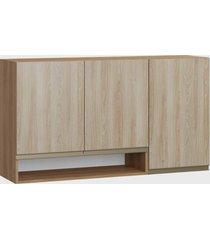 armário triplo c/ nicho madeira/aveiro be mobiliário marrom