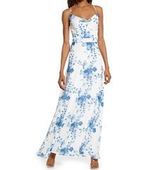 lulus celebrate the day floral lace-up maxi dress, size large in white floral print at nordstrom