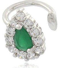 brinco viva jolie piercing gota esmeralda ródio
