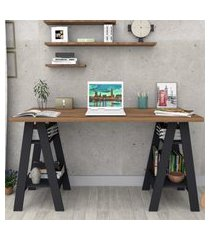 mesa escrivaninha self castanho e preto appunto móveis