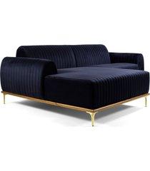 sofã¡ 3 lugares com chaise base de madeira euro 230 cm veludo azul - gran belo - azul - dafiti