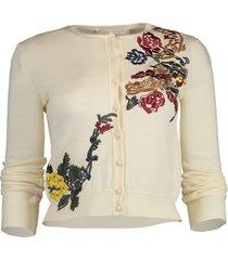 cropped floral applique cardigan
