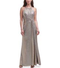 eliza j metallic halter-neck gown