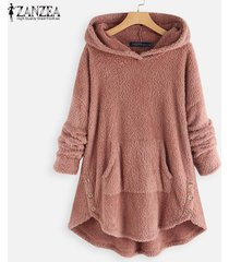 zanzea abrigos de lana con capucha de manga larga para mujer sudaderas con capucha sueltas ocasionales -rosado
