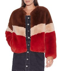 apparis women's brigitte colorblock faux fur jacket - chocolate sand - size m