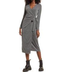 women's topshop cozy long sleeve ribbed wrap dress, size 12 us - grey