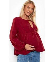 zwangerschap geweven gesmokte sleutelgat top, wine