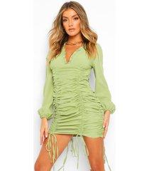 mini jurk met franjes, olive