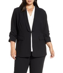 plus size women's vince camuto moss crepe blazer, size 24w - black